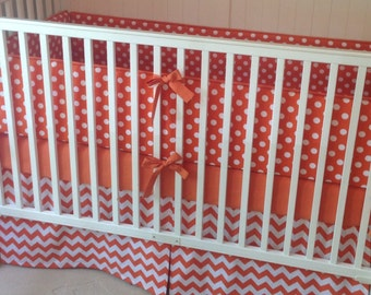 Modern Orange Crib Bedding