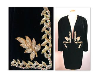 Vintage 80s Velvet Suit Skirt and Jacket M Black with Beaded Gold Appliques by Mondi
