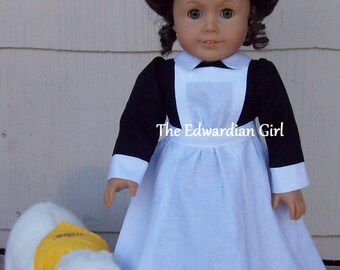 Pre-order Titanic stewardess doll dress, Downton Abbey Edwardian fits 18 inch play dolls such as American Girl, Springfield, OG. Made in USA