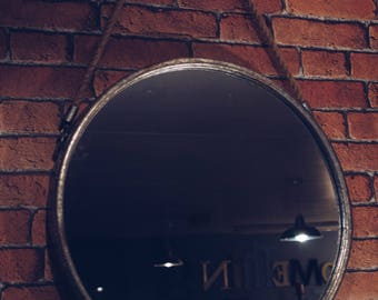 Industrial Large Round Mirror with Metal Frame and Rope Hanger Great Rustic Nautical Design