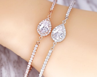 Wedding Bridesmaid Gift Bridal Bracelet Jewelry Set Clear White Cubic Zirconia Teardrop Mother of Bride Gift, Mother of Groom B90