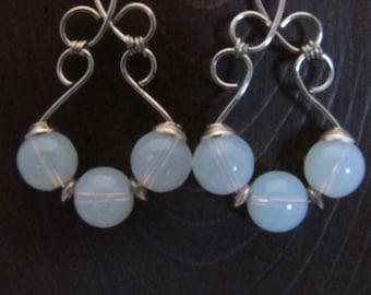 opalite fan earrings