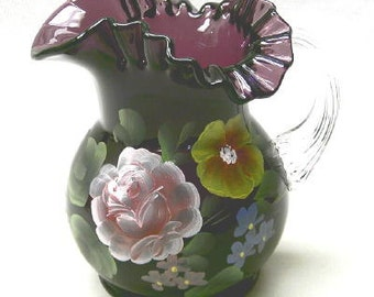 Ruffled Pitcher Hand Painted on Amethyst Glass