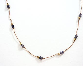 Iolite Hand Knotted Gemstone Necklace / Dainty Jewelry / Layering Necklace