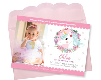 Unicorn Birthday Invitation, Photo Invitation, Printable, Customized text invitation, Girl's First Party, Unicorn Floral party