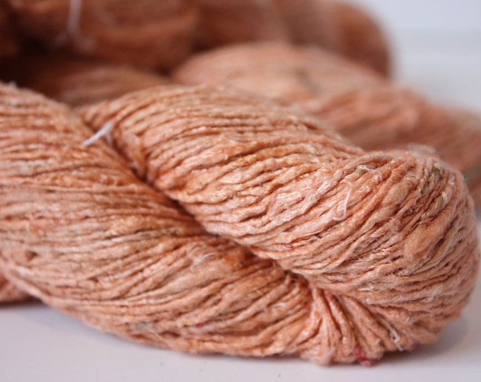 Handspun Recycled Mulberry Silk - Apricot Sorbet