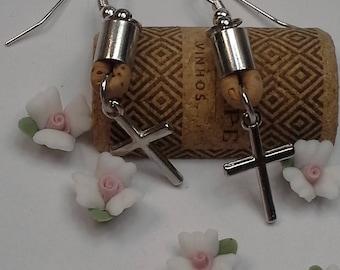 Cross cork leather earrings