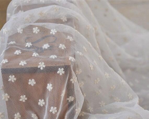 Tela de encaje blanca estrellas y tul bordado 55 tela de