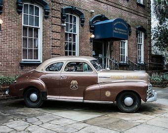 Classic Car Photograph Police Car Savannah Georgia Photography Chevy Coupe Photo Savannah Photography Police Decor Police Wall Art