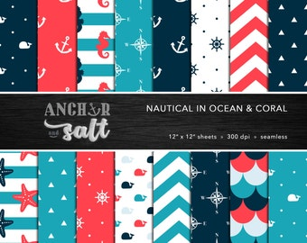 Nautical Digital Paper Set -- Coral, Light Blue, Navy Blue, Anchors, Starfish, Whale, Sea, Scrapbook, Seamless -- Personal or Commercial Use