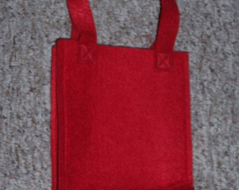 red felt gift bag to decorate,thick felt,Kids craft,undecorated,6 inches by 8 inches by 2.25 inches,Valentines