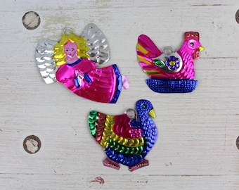 Handmade Mexican Tin Ornaments (Set of 3) Vintage Christmas Tree-Fiesta-Xmas-Gift Ideas-Holiday-Southwest-Coco-Amor-Folk Art-Handcrafted 100
