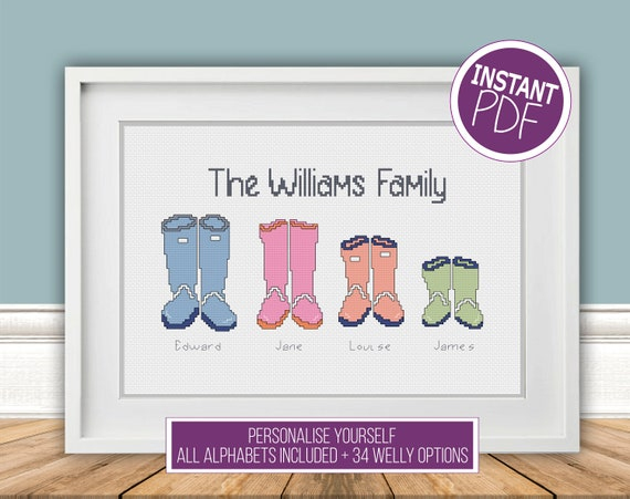 Personalised Welly Family, DIY Cross Stitch Chart