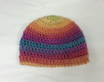 Colorful Rainbow Hat Striped Crocheted Wool Hat Beanie Men Women Children Toddler Baby All Sizes Newborn to Adult Groovy