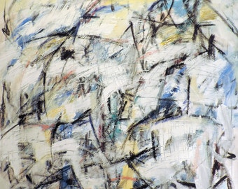 Clowns, 2-10-15 (LARGE 3' x 4'  abstract expressionist painting on canvas, black, white, cream, gray, blue, yellow)