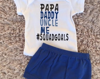 Baby Boy Squadgoals, Baby Boy One Piece, Baby Shower Gift, Baby Boy Shower Gift, Baby Boy Clothes, Fall Outfit