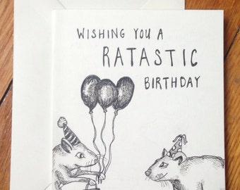 Rat Cartoon Birthday Card