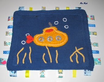 Hand Knitted Cotton Yellow Submarine Taggie/Sensory Blanket - Ready to Ship!