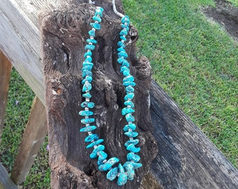 Native American long turquoise nugget natural nugget necklace