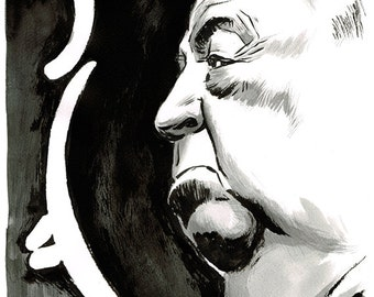 Alfred Hitchcock portrait original ink drawing