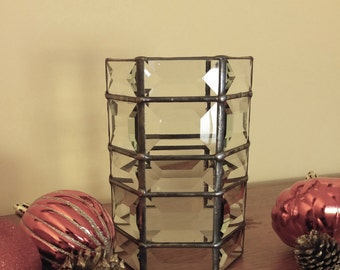 Candle holder beveled stained glass 6 x 4 READY TO SHIP 30 rectangles Christmas decor