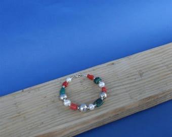 Colorful Multi Gemstone Bracelet ( Turquoise & Lapis Lazuli ), Red Coral Bracelet, White Pearl Bracelet, Precious Mediterranean Coral