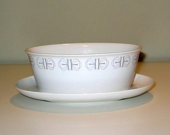 Franciscan Merry-Go-Round Pattern Vintage Gravy Boat with Attached Plate