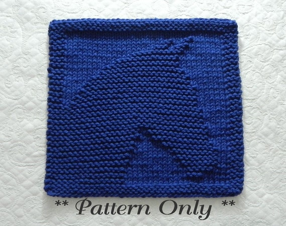 Knit Dishcloth Pattern for HORSE Equestrian Gift Idea Easy