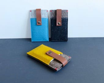 Iphone X felt case with pocket and leather closure - cover  in many colour options