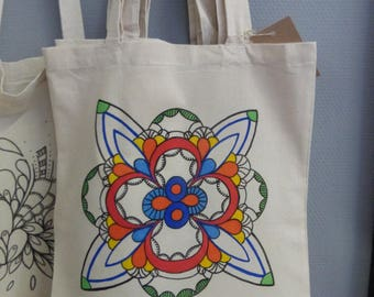 hand painted purse totebag