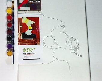 Paint Party Ideas - Glorious Beauty - How to Paint Acrylic on Canvas DIY Kit