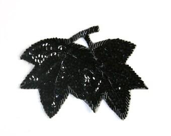 SALE /Black Leaves patch, Vintage Sequins  Applique, Sewing Applique Patch