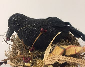 Primitive crow on nest on bed spring arrangement !