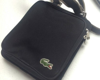 Vtg 90s LACOSTE Men's Crossover Sport Black Bag with Pockets and Wallet