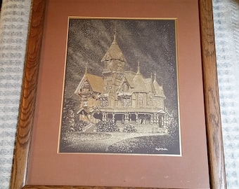 Haas-Lilienthal House San Francisco Paul M. Breeden Gold Foil Etching 1981 Beautiful Realism Style