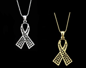 Crystal Black Ribbon Bow Melanoma Skin Cancer Awareness Pendant Charm Necklace Silver Tone Gold Tone