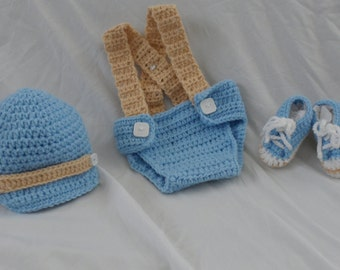 Crocheted Baby Boy Newsboy Hat Suspenders Diaper Cover Set MADE TO ORDER