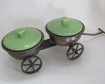 Pewter Wheeled Condiment Wagon-Avocado Ceramic Lids