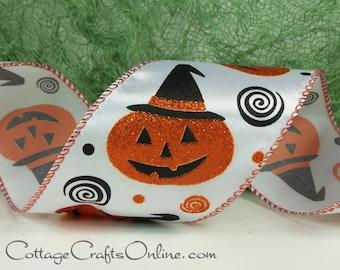 "Halloween Wired Ribbon, 2 1/2""  Jack O'Lantern Print, Orange & Black Glitter - TEN YARD ROLL -  ""Jack in a Hat""  Pumpkin Wire Edged Ribbon"