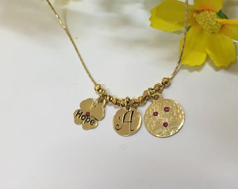 Initial gold necklace-Clover gold necklace-Hope gold necklace-Tree of life gold necklace -Gold charms necklace