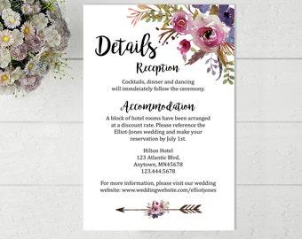 Printable Boho Wedding Details Card, Printable Wedding Detail Insert Card, Feathers Boho Details Card, Information Card Download, 113-W