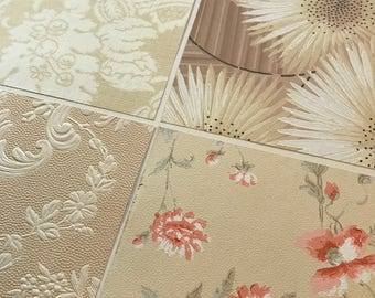 Pack of (4) -  Tan/Pink/Cream Floral Vintage Wallpaper Pack, 11x14 size