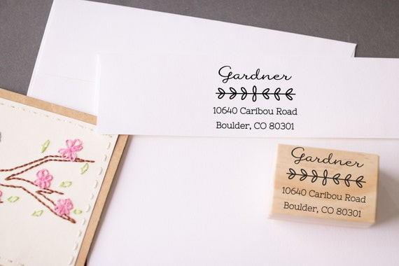Return Address Stamp Calligraphy Leaves , Custom Wedding Save the Date Stamp