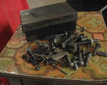 mens antique junk ina small metal  trunk like box