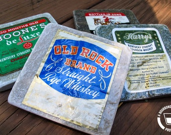 Natural Stone Coasters made with Vintage Bourbon Labels