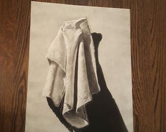 Original Charcoal White Cloth Drawing