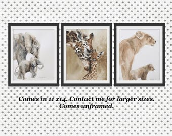 giraffe painting for her watercolor nursery art PRINT for boy nursery painting of baby giraffe art PRINT painting giraffe lion elephant