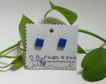 Snorkel Blue Wooden Square Earrings