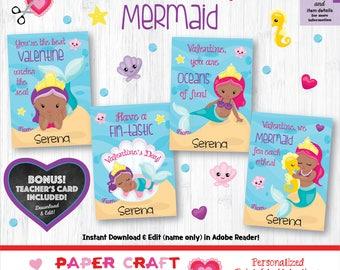 Mermaid Valentine Cards | Printable Classroom Valentines | Classroom Exchange Cards | African American | By Paper Craft Valentines