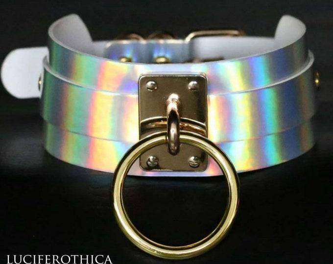 Silver Rainbow PU Leather Choker - occult sm goth gothic steel ring pu leather vegan bondage bdsm fetish choker gay parade